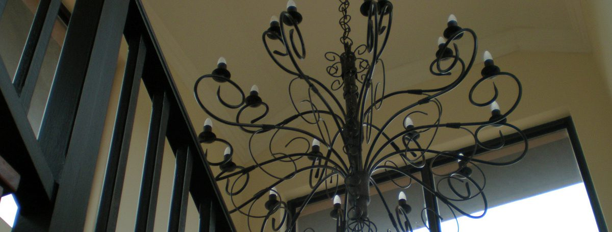 new chandelier installed in roof